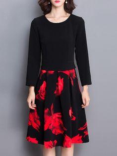 High-end Splicing Printing Long Sleeve Dress _Long Sleeve…