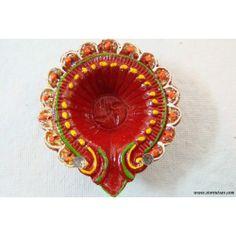 SOLD OUT - Diya Terracotta Red with Glitters-Handmade Rajasthani by Store Utsav (www.storeutsav.com)