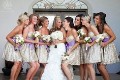 oohh I like the shimmery gold! That could be really pretty! gold bridesmaid dresses with coral bouquets??