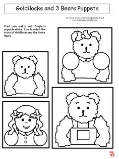 Goldilocks and 3 Bears Puppets from http://www.makinglearningfun.com
