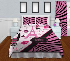 Girls Zebra Print Bedding Paris Theme by EloquentInnovations, $214.00