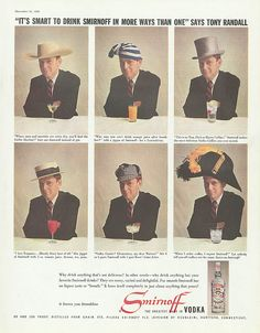 Specializing in rare books, out-of-print books, used books, magazines, and ephemera. Vodka Collins, Celebrity Advertising, Tony Randall, Vintage Scrapbook, Vintage Ephemera, American Actors, Clock, Ads, Movie