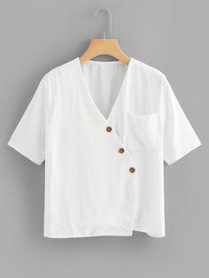 Shop Plus Surplice Front Solid Blouse online. SHEIN offers Plus Surplice Front Solid Blouse & more to fit your fashionable needs. Linen Blouse, Wrap Blouse, Blouse Styles, Blouse Designs, Indian Blouse, Shirt Blouses, Shirts, Blouse Online, Plus Size Blouses