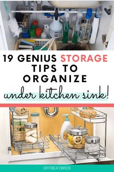 How To Organize Under the Kitchen Sink- Get rid of all the clutter and create a functional and beautiful organized cabinet. Make the most of your cabinet space with these under sink storage ideas you'll WISH you had found sooner. So clever! Under Kitchen Sink Organization, Under Kitchen Sinks, Under Sink Storage, Home Organization Hacks, Organized Kitchen, Pantry Organization, Tupperware, Fruit And Vegetable Storage, Farmhouse Kitchen Island