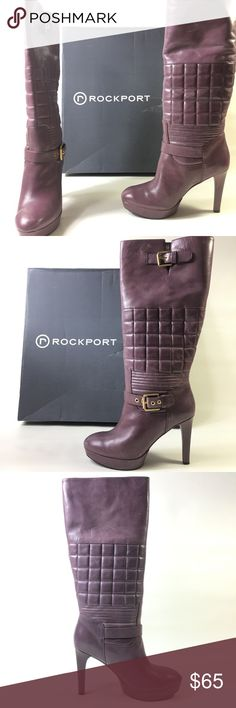 NWT Rockport Janae Quilted Leather Purple Boots wm Rockport Janae Quilted Talk Leather Women's 8 Purple Boots. Super comfortable, high quality leather product. Rockport Shoes Heeled Boots