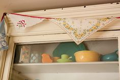 Spring Bunting from Vintage Hankies Cox And Cox, Spring Sign, Needle And Thread, Bunting, Happy Easter, 30th, Repurposed, Upcycle, Geek Stuff