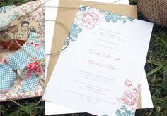 Floral custom wedding invitations (And I was lucky enough to get one of their little jam jar bonbonnieres  with home made apricot jam!! Yummo)