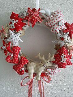 Türkranz Weidenkranz Sterne aus Tilda Stoff Landhaus Weihnachten Advent Shabby