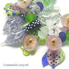 "ANASTASIA--lampwork beads--(9)--""FLOWERING""--SRA"