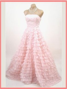 Vintage Light Pink Ruffle Tiered Wedding Gown