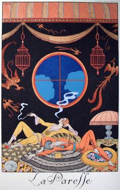 "Illustration by George Barbier (1882-1932), La Paresse, ""Falbalas & fanfreluches"", Charles Rahn Fry Pochoir Collection."