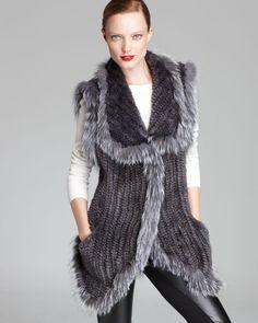 Maximilian Knitted Mink Vest with Fox Fur Trim