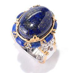 141-703- Gems en Vogue 16 x 12mm Oval Lapis Lazuli & White Zircon North-South Ring
