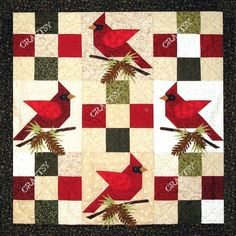 Looking for your next project? You're going to love Winter's Song Cardinal Quilt Pattern by designer PGPeddler.