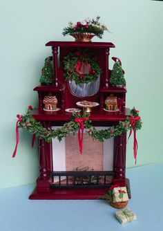 Holliday Decorated Miniature Fireplace for Dollhouse or a by 4hala, $72.00
