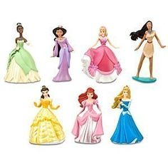 Disney Princess Figure Play Set #2 -- 7-Pc. by Disney. $15.84. Set Includes: ?. Pocahontas. Cinderella in her pink dress. Aurora in her blue dress. Ariel in her pink dress. Tiana in her green dress. Jasmine. Belle in her ballgown. Additional Information:. PVC. Up to 4'' H. Ages 3+. Imported.