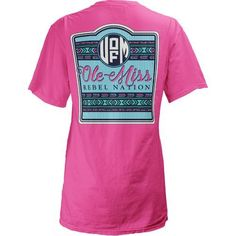 Three Squared Juniors' University of Mississippi Baylee V-neck T-shirt (Pink Bright, Size X Large) - NCAA Licensed Product, NCAA Women's at Academy...