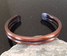 Mens Copper Bracelet - BR014P Double Bar Mens Patina Copper Bracelet With Hammered Ends by CopperMillDesigns on Etsy https://www.etsy.com/listing/226492191/mens-copper-bracelet-br014p-double-bar
