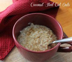 Clean Eating Coconut Steel Cut Oats. My favorite oatmeal recipe. Healthy and clean breakfast recipe.