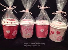 My mini coffee cups for Valentine's Day all wrapped up and ready to go.                                                                                                                                                     More