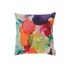 Ardnish cushion by bluebellgray - Scottish watercolour textile design by Fi Douglas. Watercolur painted abstract in a warm palette of rosy reds, oranges and neutrals on a warm natural linen ground. £70