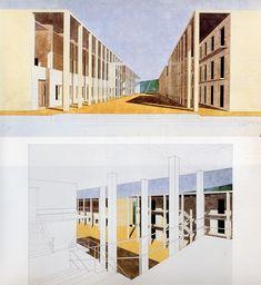 54. Chieti. Casa dello studente (1976). Perspective de la rue à portiques et de cette même rue depuis l'une des grandes cages d'escalier