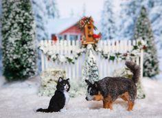 Dollhouse Miniature OOAK Artist Made Cat & Australian Cattle Dog