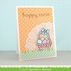 Lawn Fawn - Eggstra Special Easter + coordinating dies, Let's Polka, Mon Amie paper, Grassy Border, Stitched Rectangle Stackables _ card by Chari for Lawn Fawn Design Team