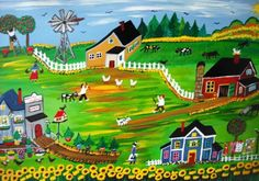Windmill in the village | Country Folk Art Paintings
