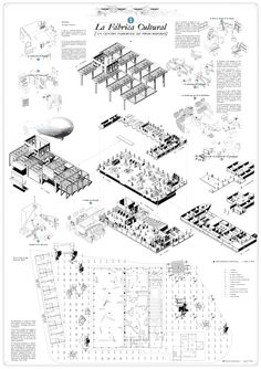 Pedro Pitarch Alonso . Rehabilitación Fábrica Clesa . Madrid (4) Architecture Collage, Architecture Graphics, Architecture Board, Architecture Drawings, Architecture Details, Architecture Presentation Board, Presentation Layout, Concept Diagram, Technical Drawing