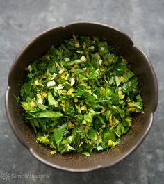 Gremolata ~ How to make gremolata, a savory condiment of parsley, garlic, and lemon zest. ~ SimplyRecipes.com