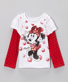 Look at this Disney White Sequin Minnie Layered Tee - Toddler & Girls on #zulily today!