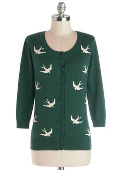 Birdlandia Cardigan in Green