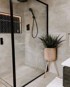 Warm tones and contemporary vibes ft. Belga Grey and Mini Herringbone Black Mosaic 📸 Beaumont Tiles, Grey Bathroom Tiles, Small Bathroom, Bathroom Ideas, Dark Bathrooms, Bathroom Inspiration, Interior Design Inspiration, Barn House Plans, Bathroom Design Luxury