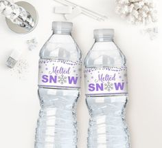 Melted snow water bottle labels, blue and silver glitter, winter onederland first birthday party, winter baby shower boy, printable 005 First Birthday Party Favor, Birthday Party Table Decorations, Baby Shower Table Decorations, Gold First Birthday, Birthday Party Tables, 1st Birthday Girls, Winter Birthday, Birthday Ideas, Penguin Birthday