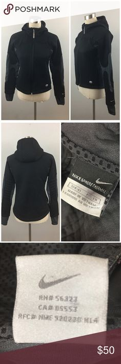 Nike Black Sphere Thermal Zip Up Hooded Jacket Nike Black Sphere Thermal Zip Up Hooded Jacket. Size small 4-6. Jacket has thumbholes as well. Thank you for looking at my listing. Please feel free to comment with any questions (no trades/modeling).  •Condition: VGUC, no visible flaws.   ✨Bundle and save!✨10% off 2 items, 20% off 3 items & 30% off 5+ items! C1 Nike Tops Sweatshirts & Hoodies