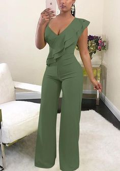 Sum All Chic, Shop Army Green Ruffle Asymmetric Shoulder Elastic Waist Long Jumpsuit online. Olive Jumpsuit, Ruffle Jumpsuit, Jumpsuit Outfit, Romper Suit, Romper Dress, Rompers Women, Jumpsuits For Women, Classy Outfits, Cute Outfits