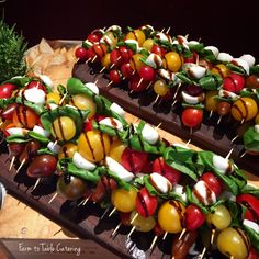 Caprese bites. Perfect summer appetizers with heirloom cherry tomatoes, basil and fresh mozzarella | Farm to Table Catering | Wedding caterer serving Grass Valley, Nevada City, Sacramento, and Lake Tahoe, Ca | www.farm2tablecatering.com
