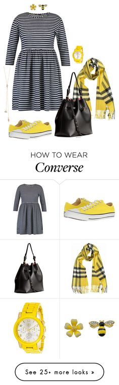 """""""Bee - plus size"""" by gchamama on Polyvore featuring Burberry, H&M, Converse and LC Lauren Conrad"""