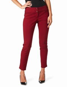 Exact Stretch Edge-Waist Ankle Pants in Varsity Red Football Season, Ankle Pants, Skinny Pants, Workout Pants, New Moms, Ankle Length, Preppy, Capri Pants, Curvy