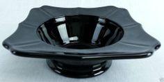 "Vintage Black amethyst glass ashtray bowl square shaped 1 5/8"" tall 5"" square"