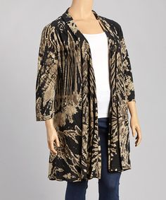 Another great find on #zulily! Black & Beige Long Tie-Dye Open Cardigan - Plus by Windcircle #zulilyfinds