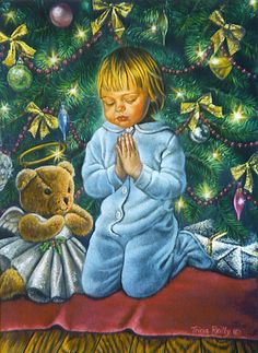 Girl Praying With Teddy  by  Tricia Reilly-Matthews (American)