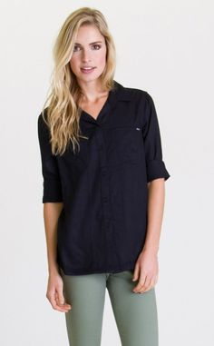 The Tricks Of Trade woven button down top is an everyday essential from RVCA