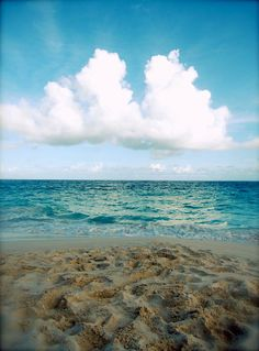 Sand, Sea, Sky: fine art photograph print of Bermuda beach seascape (turquoise Atlantic ocean, blue sky with white clouds, brown sand). By UninventedColors on Etsy.