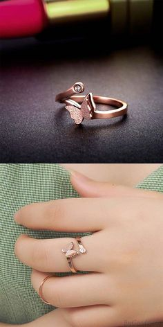 Rings Unique Unique Vivid Double Layer Frosted Butterfly Animal Rose Gold Girl's Open Ring for big sale! Diamond Wedding Rings, Bridal Rings, Bridal Jewelry, Jewelry Design Earrings, Gold Rings Jewelry, Jewelry Accessories, Gold Bracelets, Silver Earrings, Diamond Earrings