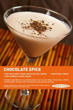 Chocolate Spice #Martini ! 1 part JDK & Sons™ Crave Chocolate Chili ...