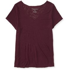 Aeropostale Oversized Slub-Knit V-Neck Tee ($8) ❤ liked on Polyvore featuring tops, t-shirts, volcano red, vneck tee, red tee, oversized tee, purple top and red top