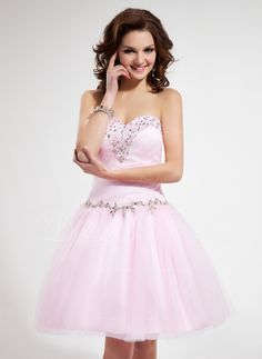 A-Line Princess Sweetheart Knee-Length Tulle Homecoming Dress With Ruffle  Beading Sequins 91002018d