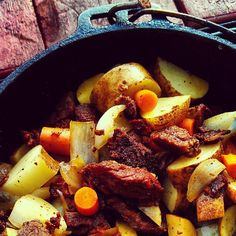 Traditional Dutch Oven Potatoes & Beef  2 lb cubed potatoes (I like Yukon Gold), 1 lb onion, 1 lb stew  meat, 1 lb carrots, ½ lb bacon, 2 tsp celery seeds, 2 TBsp seasoned salt